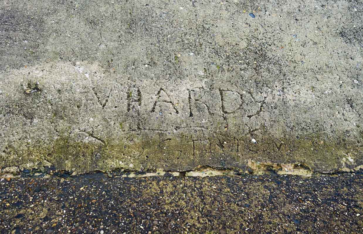 Wet cement signature on Walcott sea defences Norfolk