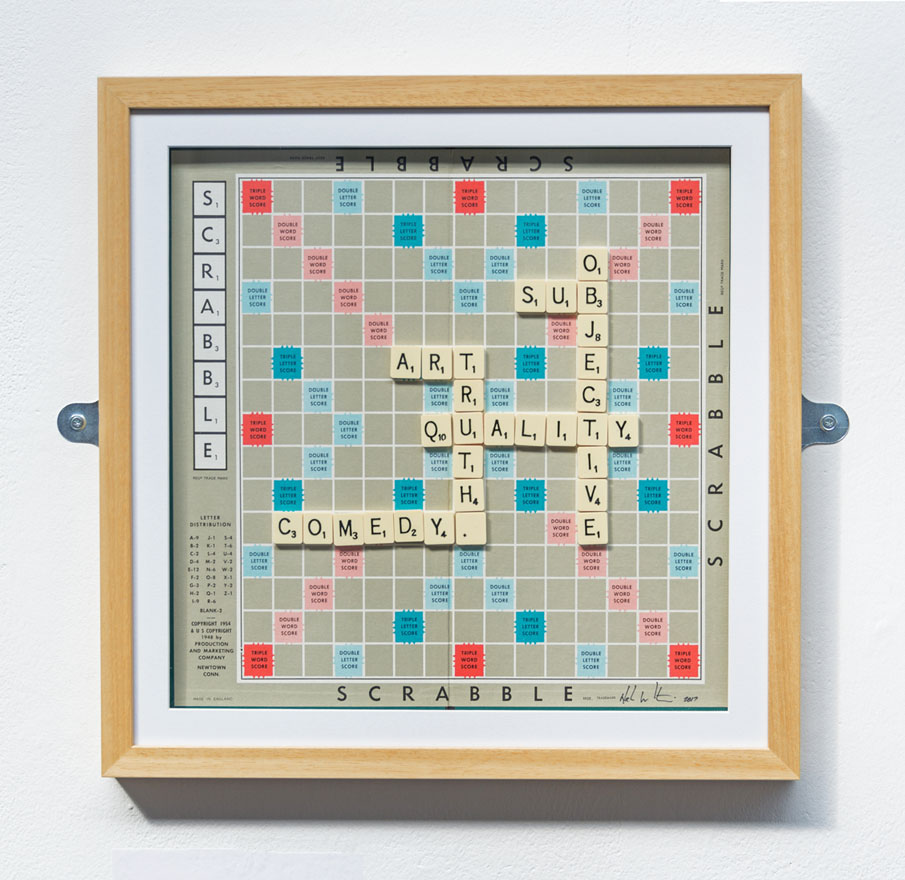 Scrabble board search for truth, art, comedy, and quality